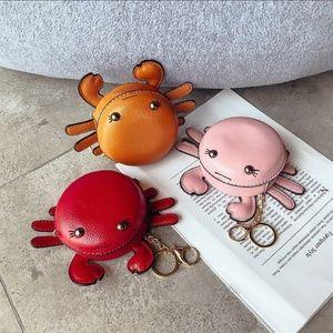 🦀 Orange Crab Zipper Pouch Keychain